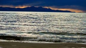 Tramonto del Gran Lago Salato @ Fotografia Stock Libera da Diritti