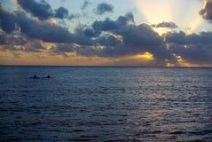 Tramonto del kajak del Niue Fotografia Stock