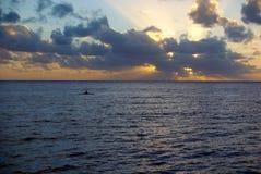 Tramonto del kajak del Niue Immagine Stock