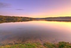 Tramonto del lago Fotografia Stock Libera da Diritti