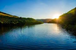 Tramonto del lago Fotografie Stock