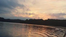 Tramonto del lago Fotografia Stock