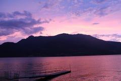 Tramonto del lago Como Fotografia Stock