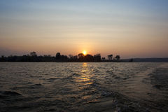 Tramonto del lago Kabini fotografia stock