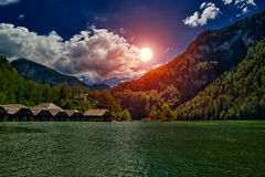 Tramonto del lago Konigsee Fotografie Stock
