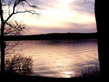 Tramonto del lago missouri fotografia stock libera da diritti