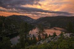 Tramonto del lago Pinecrest Fotografia Stock
