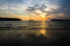 Tramonto del mare Fotografia Stock