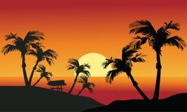 Tramonto del mare con l'isola e le palme Immagine Stock Libera da Diritti