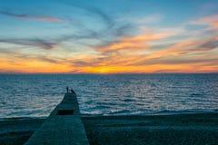 Tramonto del mare in Soci Fotografia Stock Libera da Diritti