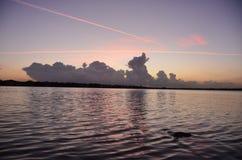 Tramonto del paesaggio del lago Fotografia Stock Libera da Diritti