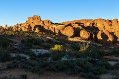 Tramonto del parco nazionale di arché Fotografie Stock Libere da Diritti