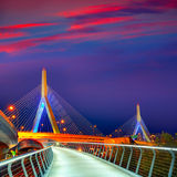 Tramonto del ponte di Boston Zakim in Massachusetts Immagini Stock