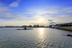 Tramonto del ponte di Wuyuan Fotografie Stock Libere da Diritti