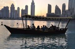 Tramonto del porticciolo del Dubai Fotografia Stock Libera da Diritti