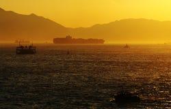 Tramonto del porto Immagini Stock