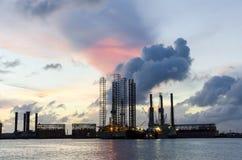 Tramonto del porto a Galveston fotografia stock libera da diritti