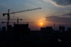 Tramonto del sito della costruzione Immagine Stock Libera da Diritti