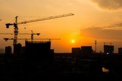 Tramonto del sito della costruzione Fotografie Stock