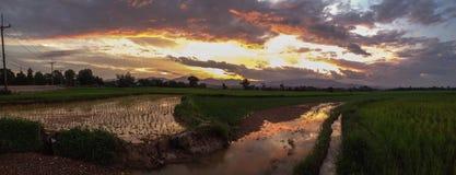 tramonto del sole del cielo Immagini Stock