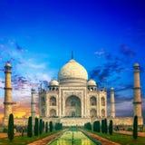 Tramonto del Taj Mahal India fotografie stock