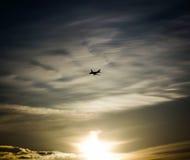 Tramonto dell'aeroplano Immagine Stock