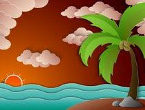 Tramonto dell'albero e della spiaggia del cocco Fotografia Stock Libera da Diritti