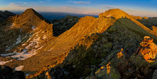 Tramonto dell'alta montagna Fotografia Stock Libera da Diritti