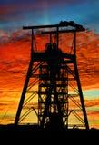 Tramonto dell'asse di miniera Fotografie Stock