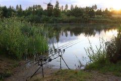 Tramonto dell'attrezzatura per la pesca Fotografia Stock Libera da Diritti