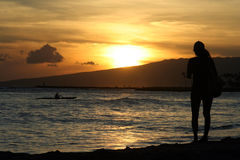 Tramonto dell'Hawai Fotografia Stock Libera da Diritti