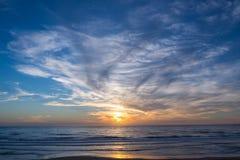 Tramonto dell'Oceano Atlantico, Lacanau Francia Fotografie Stock Libere da Diritti