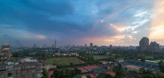 Tramonto dell'orizzonte di Il Cairo Immagini Stock Libere da Diritti