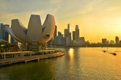 Tramonto dell'orizzonte di Singapore Immagine Stock