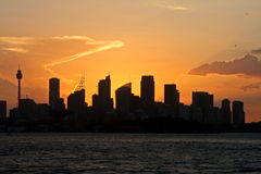 Tramonto dell'orizzonte di Sydney Fotografia Stock Libera da Diritti