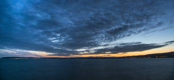 Tramonto della baia di Swansea fotografie stock libere da diritti