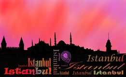 Tramonto della capitale di Costantinopoli fotografia stock libera da diritti