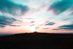 Tramonto della collina di Cleeve Fotografie Stock