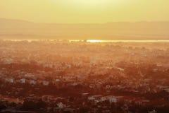 Tramonto della collina di Mandalay fotografia stock libera da diritti