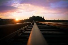 Tramonto della ferrovia Immagine Stock