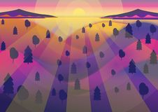 Tramonto della foresta di vettore royalty illustrazione gratis
