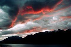 Tramonto della montagna della Nuova Zelanda Fotografie Stock Libere da Diritti