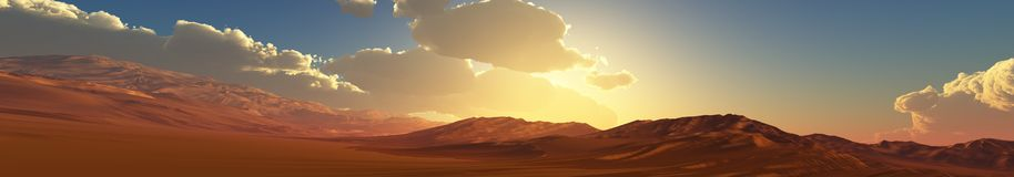 Tramonto della montagna di panorama, alba Baner fotografia stock libera da diritti