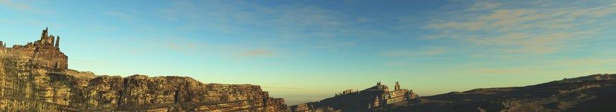 Tramonto della montagna di panorama, alba Baner fotografia stock
