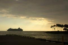Tramonto della nave da crociera fotografia stock