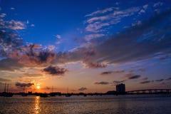 Tramonto della Palm Beach Fotografia Stock