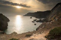 Tramonto della primavera ad alta marea alla baia di Kynance Fotografia Stock Libera da Diritti