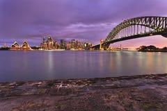 Tramonto della priorità alta di Sydney CBD Milsons Fotografia Stock Libera da Diritti