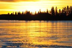 Tramonto della riva del lago Immagine Stock Libera da Diritti