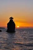 Tramonto della roccia di Siwash Fotografie Stock Libere da Diritti